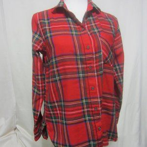 WOMENS OLD NAVY S/P RED BUTTON UP BLOUSE
